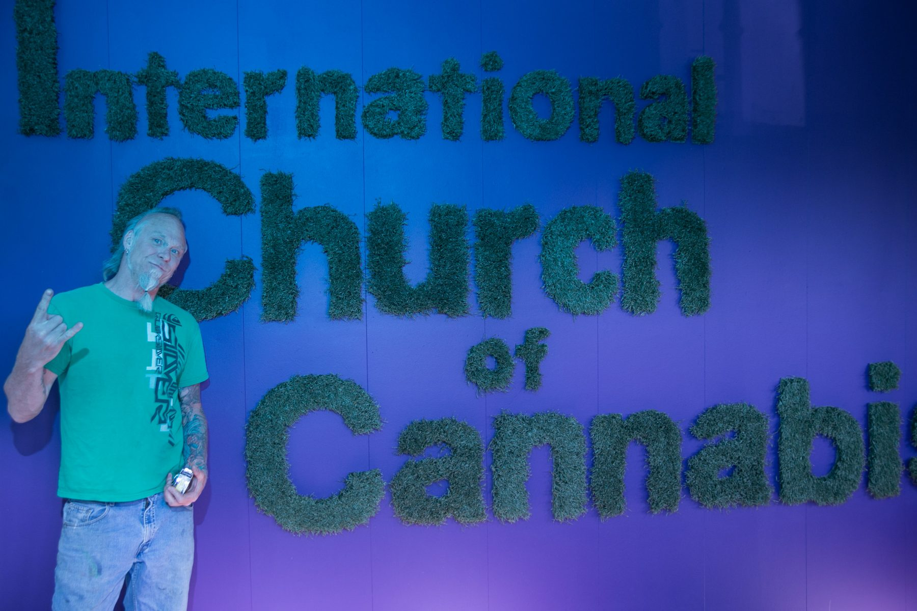 Dave Bouge presents the logo for the International Church of Cannabis he created