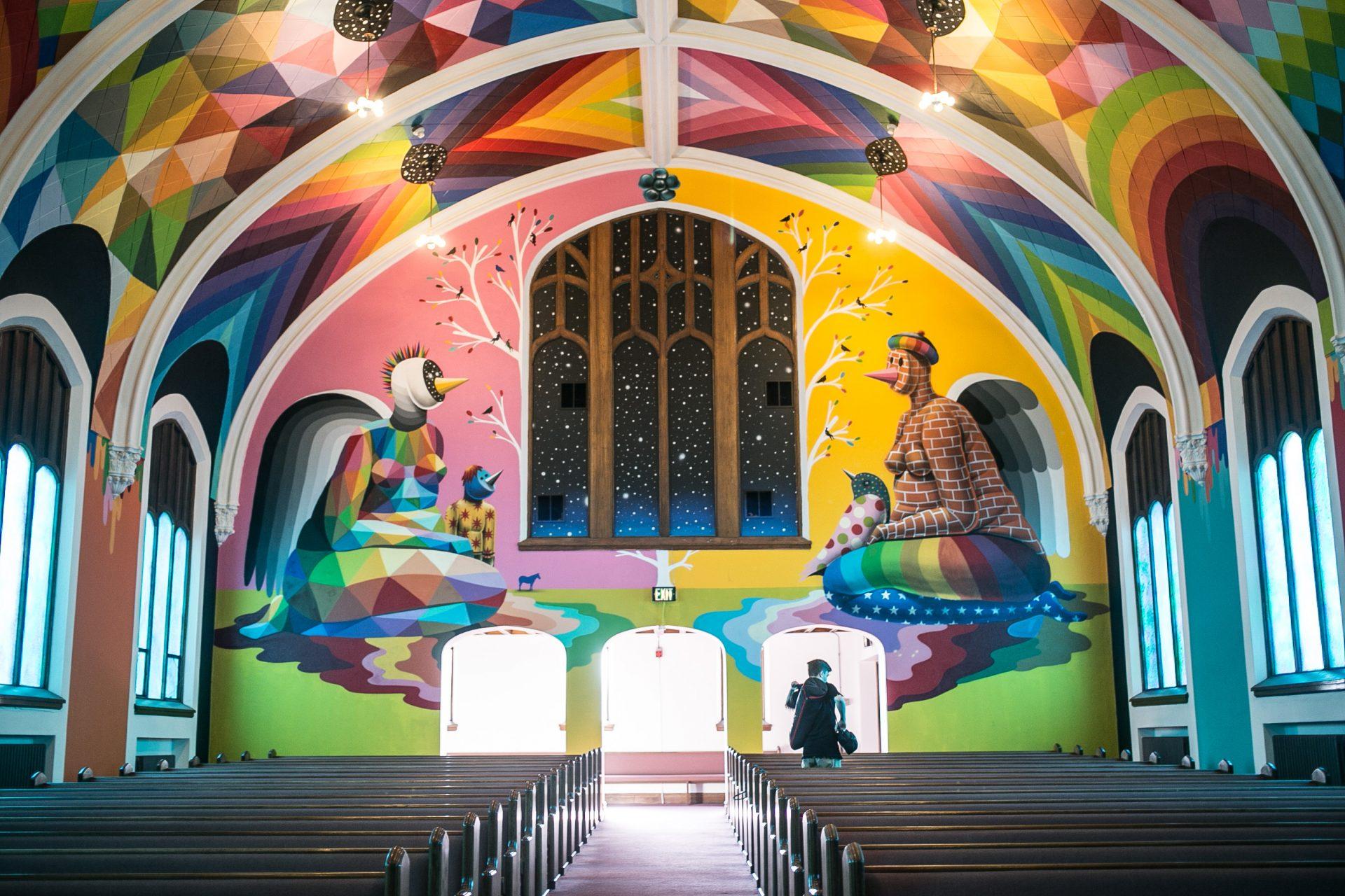 Okuda mural at International Church of Cannabis in Denver Colorado